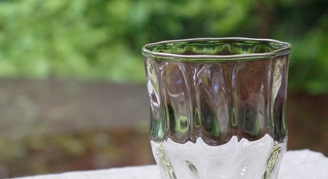 白瑠璃ガラス 十一方屈亀甲文様浮底ロックグラス(海馬)