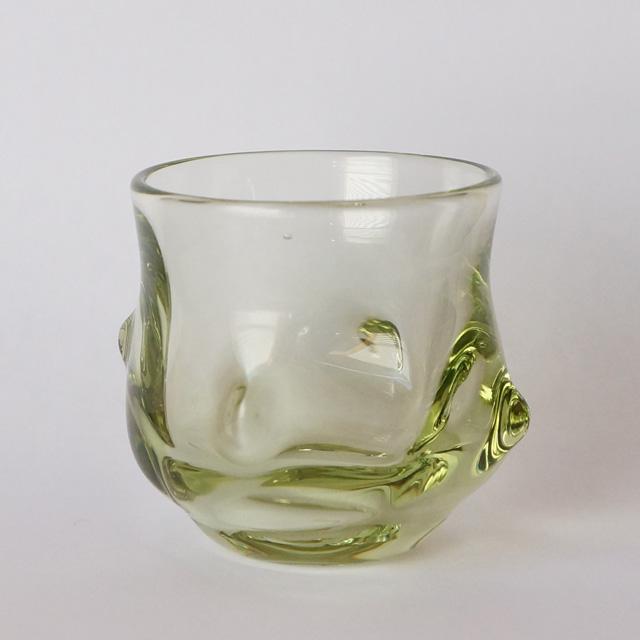 サハラガラス 四方屈凸文様酒器(海馬)