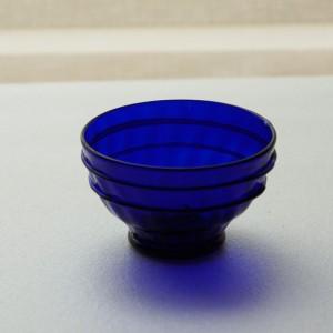 瑠璃色ぐい呑み ライン(ガラス工房 橙)