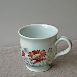 ヒマラヤ高山植物柄のマグカップ(榧陶房)
