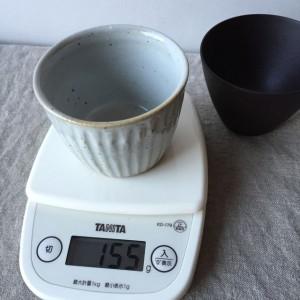 陶磁器カップの重さ