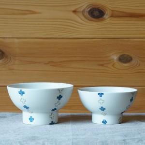 クロス柄のかわいいご飯茶碗(すこし屋 松田窯)