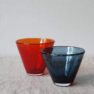赤と藍の泡グラス(橙)