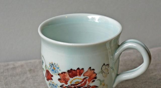 ヒマラヤ高山植物柄のマグカップ