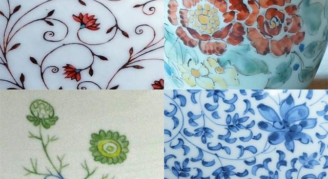 陶磁器に咲く花々