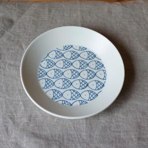 丸皿 さかな柄 小(松田窯)