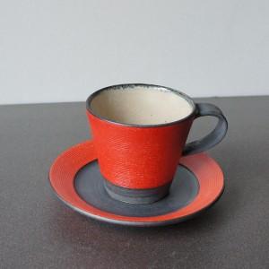 赤い5寸皿(沖誠)